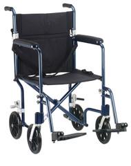 """Flyweight Lightweight Folding Transport Wheelchair, 17"""", Blue Frame, Black Upholstery"""