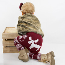 Burgundy Fair Isle Moose Leggings