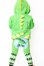 Green Dino on a Bike Leggings
