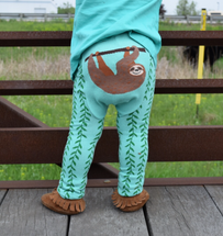 Sloth Green Leggings in Cotton