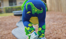 Dino Hungry Blue Cotton Leggings