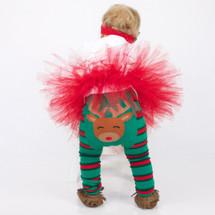 Green & Red Stripe Reindeer Leggings