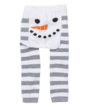 White Snowman Stripe Leggings