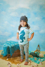 Light Blue Stripe Seahorse Tee