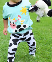 Blue Cow Leggings and matching Shirt