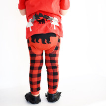 Red Flannel Grizzly Bear COTTON Leggings