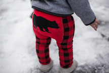 Red Flannel Grizzly Bear Leggings