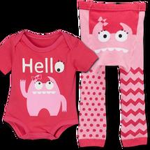 Pink Monster Leggings and matching Bodysuit