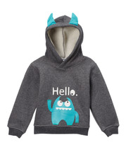 Blue Monster Hoodie with Horns