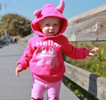 Pink Monster Hoodie with Horns