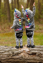 Dino Gray with Rainbow Spikes Hoodie 3D