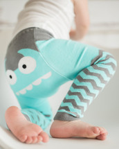 Blue monster legging - organic cotton