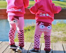 Pink monster legging - organic cotton