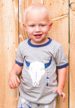 Gray Steer Tee - Southwestern Collection