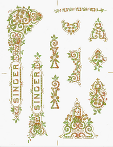 Singer 15 Class Tiffany Style  Multi Color Decals