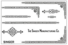 Singer 221 Featherweight Decals for  Restorations Celtic Chain Design Black
