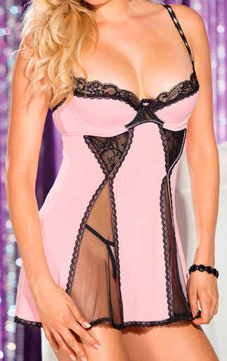 SH25510 Pink Silky Feeling Knit Chemise (front)