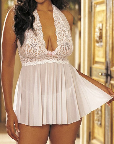 SHX96164 Stretch Mesh and Lace Babydoll by Shirley of Hollywood - White