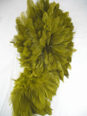ROOSTER FEATHER SCHLAPPEN,  3-5 inch, dyed OLIVE, per FOOT