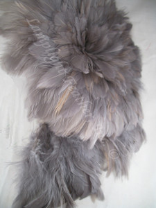 ROOSTER FEATHER SCHLAPPEN,  strung,  3-5 inch, dyed GRAY, per FOOT