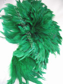 ROOSTER FEATHER SCHLAPPEN,  3-5 inch, dyed GREEN, per FOOT
