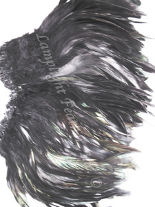 ROOSTER SCHLAPPEN FEATHERS, strung, 7-9 inch BLACK per foot
