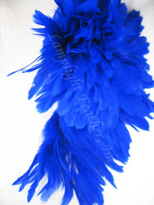 Rooster Feathers Schlappen, Royal Blue, 3-5 inch, per FOOT