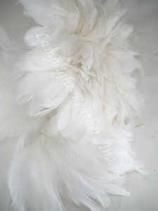 ROOSTER FEATHER SCHLAPPEN,  short, WHITE, 3-5 inch, per FOOT