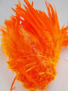 ROOSTER SADDLE FEATHERS, strung,  ORANGE, per foot