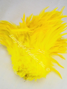 ROOSTER SADDLE Feathers, strung, Yellow, per foot