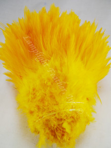 ROOSTER SADDLE FEATHERS, strung, GOLD, per foot