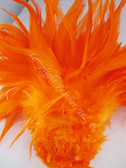 ROOSTER SADDLE Feathers, strung, long, ORANGE, per foot