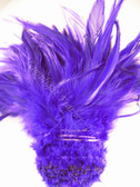 ROOSTER SADDLE FEATHERS, strung, long, PURPLE, per foot