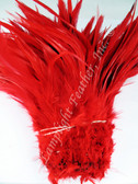 ROOSTER SADDLE Feathers, strung, long, Red - per foot