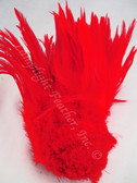 ROOSTER SADDLE Feathers, strung, RED, per foot