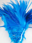 ROOSTER SADDLE Feathers, strung, Turquoise, per foot