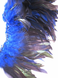 ROOSTER SCHLAPPEN Feathers half bronze dyed Blue, per foot