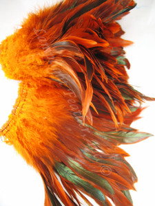 ROOSTER FEATHER SCHLAPPEN, half bronze, dyed ORANGE, per FOOT