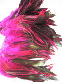 ROOSTER SCHLAPPEN Feathers, half bronze, dyed HOT PINK,  per foot
