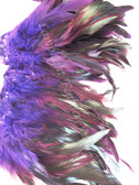 ROOSTER FEATHER SCHLAPPEN, half bronze, dyed PURPLE, per FOOT