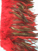 ROOSTER FEATHER SCHLAPPEN, half bronze, LONG, dyed Red, per FOOT