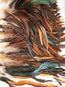ROOSTER FEATHER SCHLAPPEN, NATURAL, half bronze, per FOOT