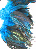 Rooster Feathers Schlappen,half bronze, dyed Turquoise, per FOOT