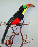 ARTIFICIAL FEATHER BIRD, TOUCAN, 22 inch
