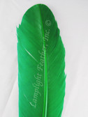 WING QUILL FEATHERS, turkey rounds, dyed GREEN, per DOZEN