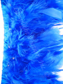 Blue Feather Trim Chandelle Premium per yard