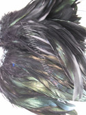 ROOSTER SCHLAPPEN FEATHERS, strung,  dyed BLACK 3-5 inch, per foot