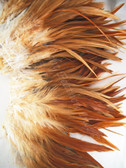 ROOSTER SADDLE FEATHERS, strung, Natural Red Brown, per foot