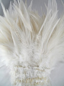 ROOSTER SADDLE Feathers, strung, NATURAL WHITE, (IVORY) 5-7 inch, per YARD