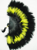 Feather Fan, Marabou, Black/FLUORESCENT Yellow MIX